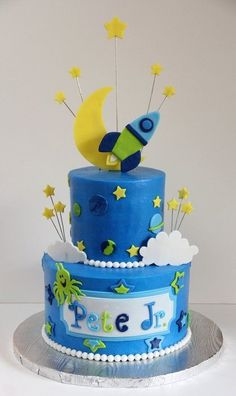 shower - Cake by SweetdesignsbyJesica Solar System Cake, Cake Designs For Boy, Robot Cake, Planet Cake, Space Baby Shower, Galaxy Cake, Snowman Cake, Novelty Cakes, Baby Shower Cakes