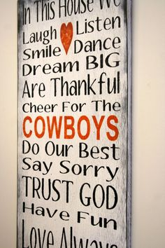 Family Rules Sign Sports Team Sign Cowboys Team Sign Distressed Wood Sign Rustic Sign Shabby Chic Cottage Chic White and Orange