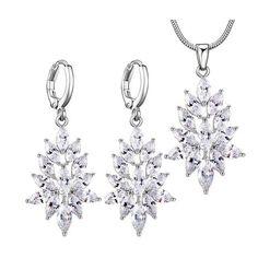 Top Zircon Jewelry Sets for Women Trendy Silver Plated Cubic Zircon Necklace Hoop Earrings Jewelry Sets Fashion Women Sets