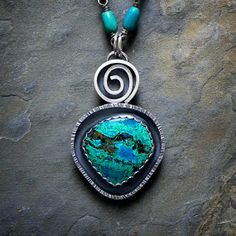 Sterling Silver Necklace with Chrysocolla by McComseyDesigns, $167.00
