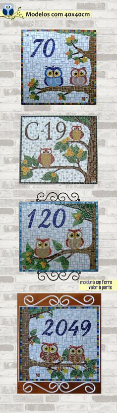 see site for more - {Estúdio Joe e o Romio} mosaicos: Modelos numerais - Corujas                                                                                                                                                      Mais