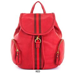 c6516db43e92 Women's 2 in1 Striped Modern Backpack w/Matching Wallet. Red. 14(W