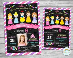Princess Personalized Invitation, Princess Invite, Custom, Digital, Printable, Birthday Party, 1st Birthday, Photo Invite, Pink, Boutique by Lollipop Party Supplies
