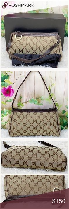 dbfc952b6299 Authentic Gucci GG Monogram Pochette clutch The outer canvas showed signs  of used. Leather trims