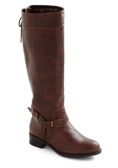 Steadfast Style Boot - Brown, Solid, Buckles, Steampunk, Casual, Fall, Low, Faux Leather