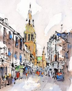 By Emma Fitzpatrick ~ Guildhall Lane, Leicester UK.- The Cathedral has remains of its medieval foundations. Pen And Watercolor, Watercolor Landscape, Watercolor Paintings, Watercolor Architecture, Architecture Sketchbook, Urban Painting, City Painting, Urban Sketchers, Ant Drawing