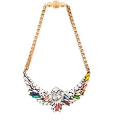 Shourouk Harlow Bird Jumble Necklace in Multi (€340) found on Polyvore