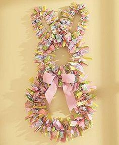 Spring Easter Decor Door Wreath Wall Hanging Bunny Rabbit Pastel Ribbon Art NEW