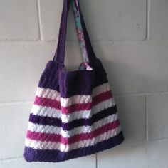 Hand Knitted Pink and Purple Striped Tote Bag  £38.00