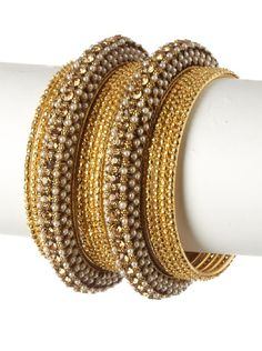 Chamak by Priya Kakkar Goldtone Bangle Set at MYHABIT