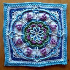 Ravelry: The Pondoland Square pattern by Jen Tyler Motif Mandala Crochet, Crochet Motifs, Granny Square Crochet Pattern, Crochet Blocks, Crochet Stitches Patterns, Crochet Squares, Knitting Patterns, Knit Crochet, Crochet Afghans