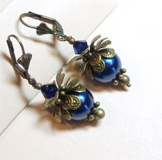 Jewelry, Earrings, Cobalt Blue Glass Pearls,  Vintage Style,Swarovski Night Blue Austrian Crystals, Antique Brass. $8.00, via Etsy.