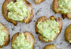 Grilled Smashed Potatoes with Hatch Green Chile Guacamole