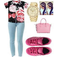 ON WEDNESDAYS WE WEAR PINK by bribriwilliams on Polyvore featuring polyvore fashion style adidas Michael Kors