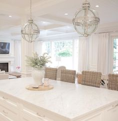 Home Design: Bright White Home Series - Bright homes arent only. Kitchen Layout, Kitchen Design, Kitchen Seating, Kitchen Ideas, Home Interior, Interior Design, Interior Paint, Bright Homes, Coastal Decor
