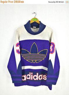 1a81ac691 ADIDAS RUN DMC Sweatshirt Hoodie Large Vintage 80s Adidas Trefoil Big Logo  Multicolour Jumper Hip Hop Adidas Hoodie Pullover Jacket Size L