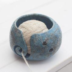 Hand Made Pottery Yarn Bowl in Blue with Bumps, Stoneware Yarn Bowl, Knitting Bowl, Raku