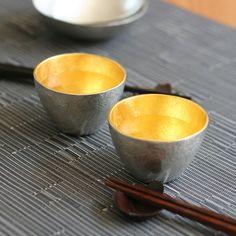 NOUSAKU Tin 100% Guinomi Choko (Sake cup) inner gild (78ml x 2pcs)