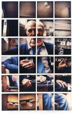 "David Hockney, ""Henry Moore Much Hadham July 53 x 36 cm x 14 inches), Composition of 24 Polaroid photographs Robert Rauschenberg, Photomontage, David Hockney Joiners, David Hockney Photography, Portraits Cubistes, Pop Art Movement, Jasper Johns, Edward Hopper, Foto Art"