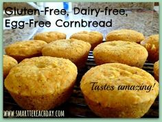 Gluten-free, Dairy-free, Egg-free Cornbread! Foolproof, easy, and delicious recipe. You can't tell a difference!