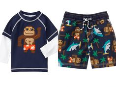 Gymboree Monkey Shark Long Sleeve Rashguard & Swim Trunks UPF 50+ Boys 3T