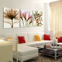 Cheap the paintings, Buy Quality canvas painting directly from China flower painting Suppliers: 3 Panels Canvas Painting modern on the wall Picture Living room and bedroom art decorative pictures flower paintings No Frame Bedroom Art, Living Room Bedroom, Living Room Decor, Bed Room, Living Room Modern, Living Room Designs, Modern Wall, Art Decor, Diy Home Decor