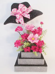 Hat Centerpiece with rhinestone base – Designs by Ginny