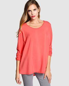 Camiseta de mujer Yerse con manga larga y cuello redondo
