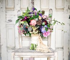 Pink + purple fall bouquet with unique textures