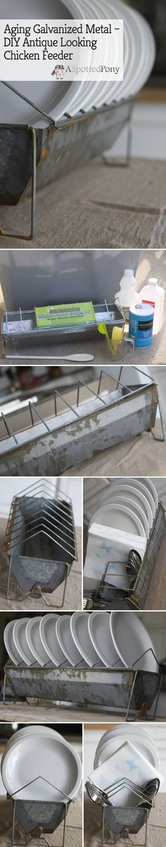 Aging GALVANIZED METAL - DIY Antique Looking Chicken Feeder Tutorial by A Spotted Pony :: She purchased a new chicken feeder at Fleet Farm for 11 bucks. Then she filled a 2 gal. tub w/ vinegar & the feeder, flipping it every now & then over the course of a day. She says the stamped looking finish will disappear completely & you'll get some beautiful rusty spots. Note the spot in 4th pic where it didn't soak as long--you can see the difference clearly. Love it! | #aspottedpony…