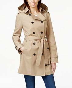 MICHAEL Michael Kors Hooded Double-Breasted Trench Coat - Coats - Women - Macy's