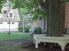 Love this idea, this bench would be perfect for watching a game of corn hole.