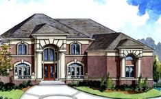 European Style House Plans - 4128 Square Foot Home, 2 Story, 6 Bedroom and 4 3 Bath, 3 Garage Stalls by Monster House Plans - Plan 66-204
