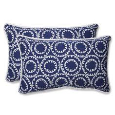 Ring a Bell Navy Rectangular Throw Pillow (Set of 2)