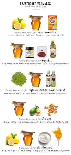 Guide to Homemade Honey Masks InfographicMake homemade honey masks for any skin type: Acne-prone skin Oily skin Sensitive skin Dry skin Discoloration of skin For more DIY Spa Recipes that Ive posted like homemade soaps milk baths sugar. Homemade Face Masks, Homemade Skin Care, Homemade Gifts, Oily Skin Care, Skin Care Tips, Organic Skin Care, Natural Skin Care, Natural Face Masks, Natural Beauty