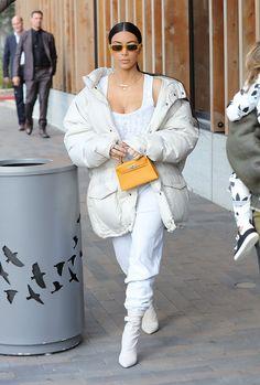 Kim Kardashian & Kanye West Are 'Happy & Healthy' Together Kim Kardashian Kanye West, Kim Kardashian Yeezy, Estilo Kardashian, Kardashian Style, Kourtney Kardashian, White Fashion, Modern Fashion, Kim And Kourtney, Corset Style Tops