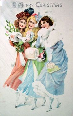 Victorian women in their winter fashions vintage Christmas postcard
