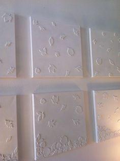Foam stickers op canvas en dan schilderen/spuiten