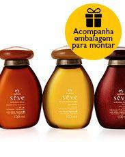 Presente Natura Sève - 3 Óleos desodorantes Corporais Amêndoas - Doces, Intesa e Marcantes - 100ml cada + Embalagem Desmontada