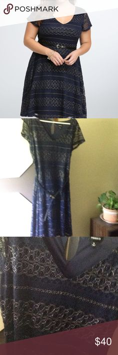 Torrid Metallic Lace Skater Dress Worn once. Very pretty. Comes with belt. Nylon and spandex torrid Dresses