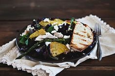 grilled chicken salad with golden beets, asparagus, and goat cheese