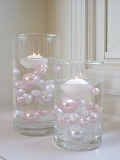 5 PACKS VALUE OFFER - Unique Elegant Vase Fillers Pink and White Jumbo Pearl Beads - 34 Pc. Per Pack... the Transparent Water Gels That Arefloating the Pearl Bead Are Floating the Pearl Beads Are Sold Separately.....