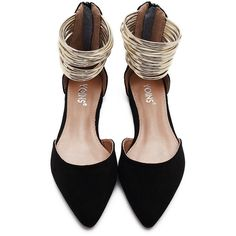 Yoins Black Suede Look Zip Closure Pointed Toe Flat Sandals With Gold... ($35) ❤ liked on Polyvore featuring shoes, sandals, flats, flat pumps, black suede sandals, black flat shoes, pointy-toe flats and black pointy toe flats