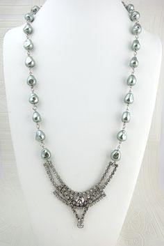 $158.00 Sage Green and Rhinestone Necklace