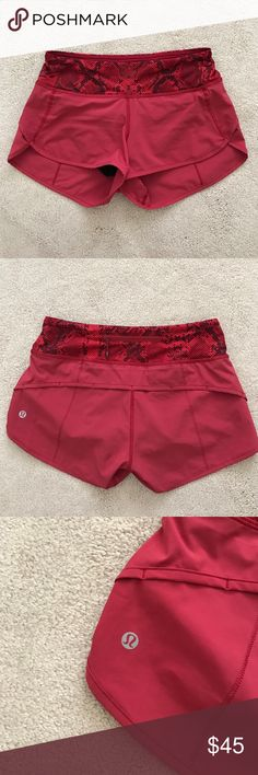 Lululemon. Speed Shorts. Cranberry Ziggy Snake Red Excellent condition!  🚫 no trades ✖️ no holds 🔵 offers considered through the offer button ♻️ if it's listed, it's available lululemon athletica Shorts