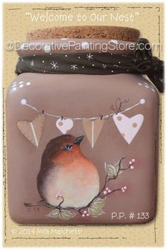 The Decorative Painting Store: Welcome to Our Nest Pattern, Newly Added Painting Patterns / e-Patterns - little bird on branch and heart banner