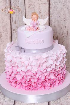 Money Birthday Cake, Baby 1st Birthday Cake, Torta Angel, Christening Cake Girls, Anime Cake, Royal Icing Cakes, Pastel Cakes, Baby Girl Cakes, Baby Shower Cake Pops