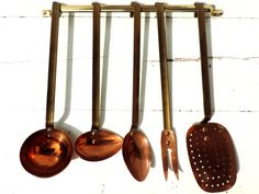 French Vintage Utensil Set/ French Vintage French Copper And Brass Cooking Utensil Set with Rack/Vintage Utensils/Copper And Brass Utensils by SouvenirsdeVoyages on Etsy