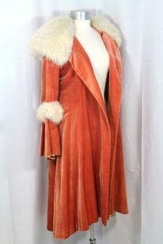 ~1920s Orange Velvet Evening Coat w/White Fox Fur Hood - Ruby Lane~