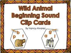 FREEBIE Wild Animal Beginning Sound Clip Cards.  Perfect for Prek or struggling kindergarteners.